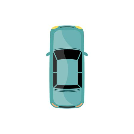 Blaugrünes Auto aus der Draufsicht, flaches Cartoonauto einzeln auf weißem Hintergrund von oben gesehen, einfache Limousine Autodachsymbol Vektor-Illustration