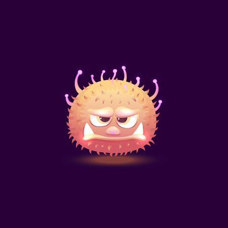 Funny cute comic fury round monster character with big teeth the cartoon vector illustration isolated on dark background. Monster or space alien glowing icon for apps. Иллюстрация