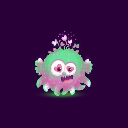 Funny colorful and glowing monster or cosmic alien cartoon comic fury round character the vector illustration isolated on dark background. Cute computer game asset.