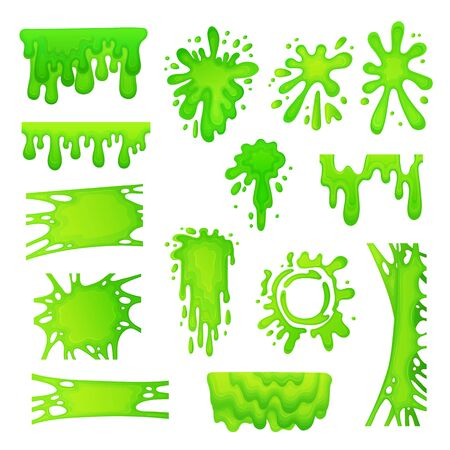 Set of green slime drops and blots cartoon vector illustration isolated on white background. Collection of radioactive splashes liquid and blobs for halloween design.