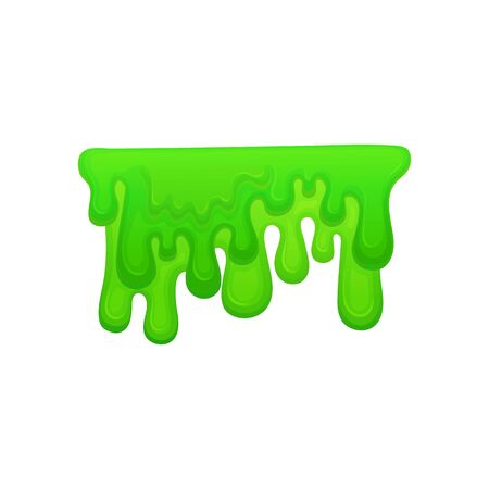 Neon green paint or slime drips and flowing the cartoon vector illustration isolated on white background. Abstract drops and shapes for halloween and funny design. Ilustrace