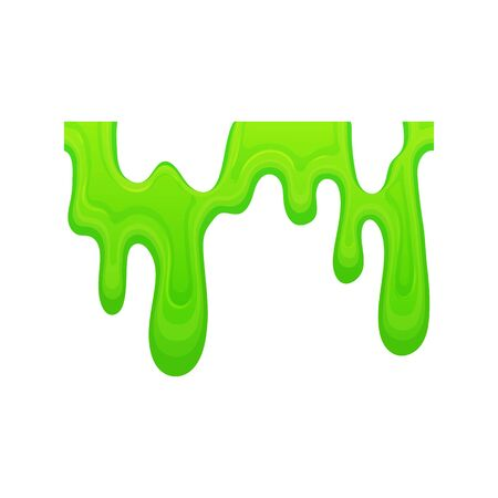 Green slime dripping in a line, sticky mucus goo drops isolated on white background, colorful poison or paint liquid with jelly texture flowing down, hand drawn vector illustration