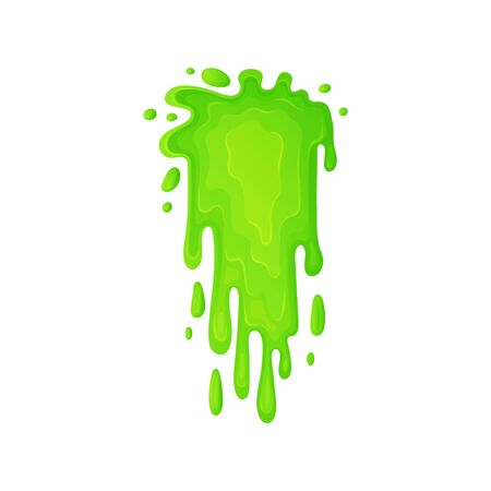 Green slime or toxic liquid flowing drops the cartoon vector illustration isolated on white background. Dirty messy paints drip element to use in holidays projects.