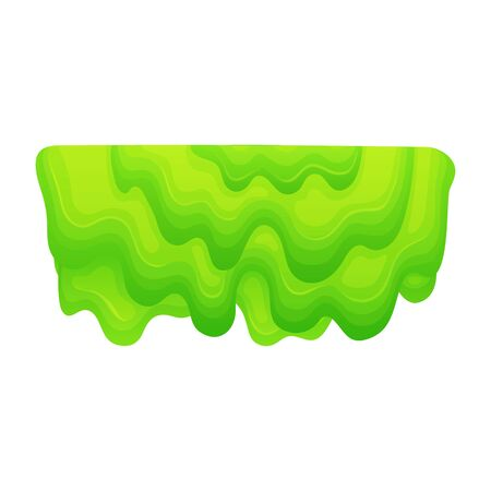 Dripping mass of green slime, cartoon blob of layered thick jelly substance with liquid sticky texture, gross mucus or poison paint symbol - isolated flat vector illustration