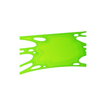 Radioactive splashes liquid or green slime stain for halloween design the cartoon vector illustration isolated on white background. Bright green paint drips and flowing. Standard-Bild - 128171161