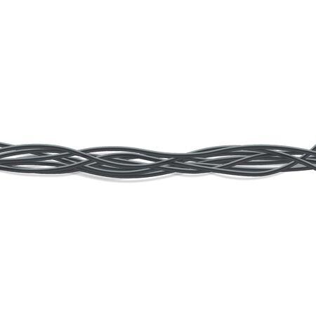 Groupe de fils électriques noirs horizontaux entrelacés ensemble de style réaliste, illustration vectorielle sur fond blanc. Ligne horizontale de câbles de connexion flexibles 3d torsadés en faisceau