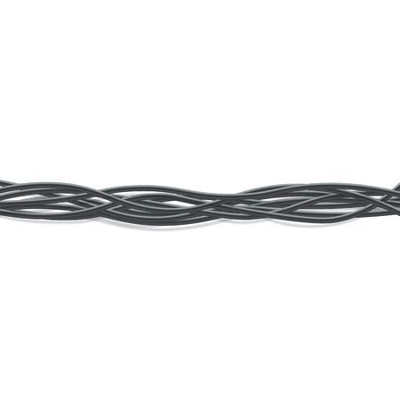 Group of horizontal black electrical wires intertwined together realistic style, vector illustration on white background. Horizontal line of 3d flexible connecting cables twisted in bundle Illustration