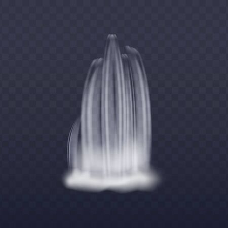 Realistic waterfall cascading stream of clear water vector illustration isolated on transparent background. Waterfall single splash or wave for landscape design.