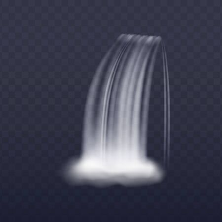 Realistic waterfall stream isolated on transparent background, vertical water splash with steam. Flowing liquid veil with 3D effect, vector illustration Illustration