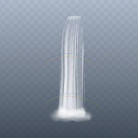 Kaskadenwasser, das von oben nach unten mit zwei Regenbögen im realistischen Stil fällt, Vektorillustration einzeln auf transparentem Hintergrund. Vorlage für hochfließendes Wasserfall-Aqua Vektorgrafik