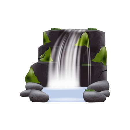 Realistic waterfall cascading stream of clear water among montain stones and plants vector illustration isolated on transparent background. Waterfall splash landscape.