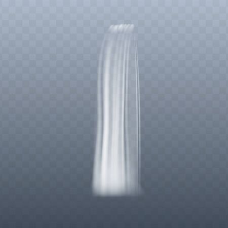 Thin vertical waterfall stream in motion, realistic effect of water flowing down, white liquid cascade on transparent background - vector illustration Illustration
