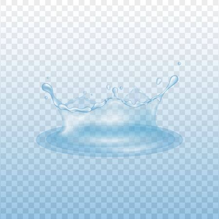 Pure blue water splash in crown shape in realistic style, vector illustration isolated on transparent background. Template of aqua liquid in motion, dynamic water splashing
