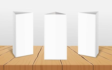 Set of three blank vertical table tent cards to presentation your design from all sides