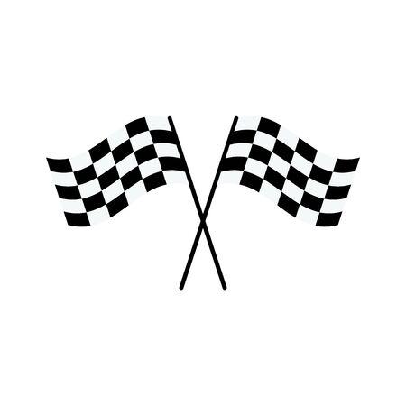Deux drapeaux à damier noir et blanc croisés en forme de X - symbole de compétition de rallye de voiture de course isolé sur fond blanc, dessin de style cartoon plat du signe de la ligne d'arrivée, illustration vectorielle