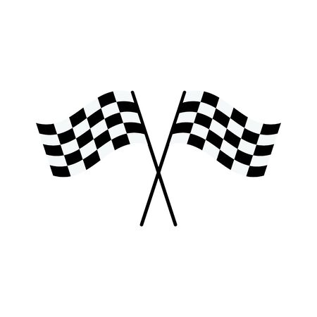 Due bandiere a scacchi bianche e nere incrociate a forma di X - simbolo di competizione di rally auto da corsa isolato su sfondo bianco, disegno di stile del fumetto piatto del segno di traguardo, illustrazione vettoriale