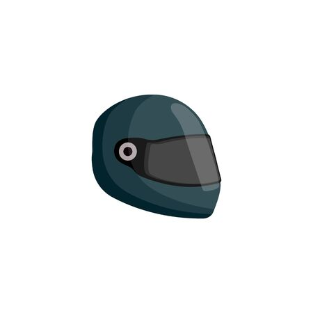 Dark green racer helmet icon isolated on white background. Race car driver head protection gear seen from side view, extreme sport safety equipment - flat cartoon vector illustration