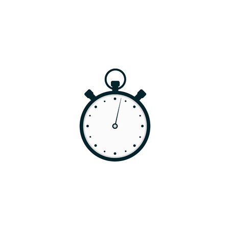 Analogue metal race stopwatch or timer the flat vector illustration isolated on white background. Sport circle clock watch for competitions to note time and speed.