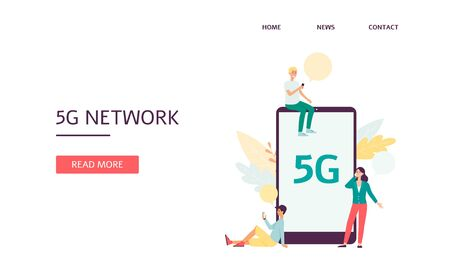 Responsive editable landing page with cartoon people characters using wireless 5g for internet and network connection flat