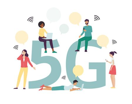 5g big letters and people characters using modern wireless connecting technology for communication the flat Stock fotó - 125388401