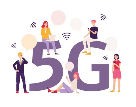 5g letters and people using modern wireless connecting technology the flat