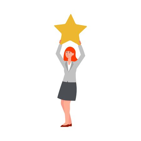 Customer feedback - young cartoon woman holding up a star, satisfied client adding a positive point to service evaluation, or giving poor one star review - isolated flat vector illustration