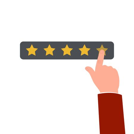 Positive feedback or customers review concept the hand gives five star rating, flat vector illustration isolated on white background. Quality rate of business or service. Stock Illustratie
