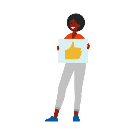 Happy woman holding up thumbs up sign on piece of paper, positive customer feedback illustration in cartoon flat style, good rating by satisfied client - isolated vector drawing on white background