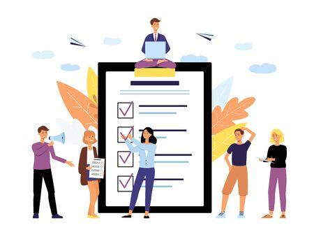 Online-Abstimmungsleute-Konzept mit Tablet-Bildschirm und Wählern, die Entscheidungen treffen, flache Vektorgrafiken isoliert auf weißem Hintergrund Abstimmung für Unternehmen und öffentliche Projekte.