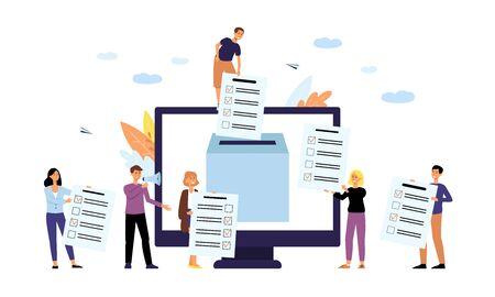 Online-Umfrage- oder Umfragekonzept die Menschen mit Computerbildschirm und Abstimmungsbox flache Vektorgrafik isoliert auf weißem Hintergrund. Abstimmung für Unternehmen und öffentliche Projekte. Vektorgrafik