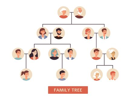 Family history tree the traditional symbol of relatives connection data Ilustração