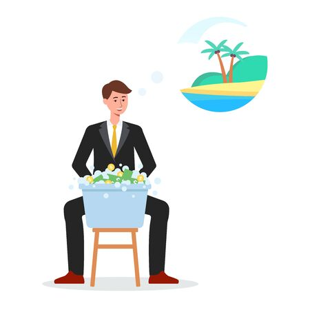 Criminal businessman washes banknotes the money laundry icon flat vector illustration isolated on white background. Financial fraud and illegal currency concept.