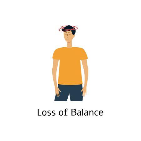 Loss of balance - symptom of stroke. Dizzy man with vertigo feeling sick, cartoon character with dizziness having a health problem - isolated flat hand drawn vector illustration Ilustração