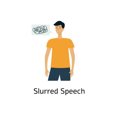 Stroke recognizing medical symptom the slurred speech icon flat vector illustration isolated on white background. Heart attack sign for warning and prevention.