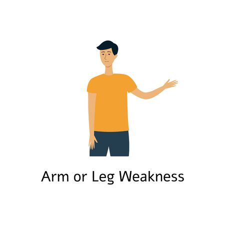 Arms and legs weakness as a medical sign of the stroke symptom flat vector illustration isolated on white background. Heart attack sign for the fast act of prevention. Фото со стока - 128171218
