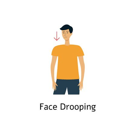 Face drooping - first warning sign of stroke and heart attack. Young cartoon man with down arrow on sad face, awareness of emergency care for medical brain disease - isolated flat vector illustration Фото со стока - 128171219