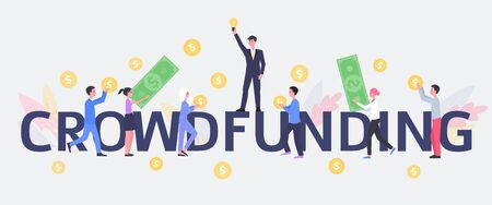 Crowdfunding project - cartoon people crowd raising money and holding dollar bills and coins. Business investment and money donation for startup - isolated flat vector illustration on white background Иллюстрация