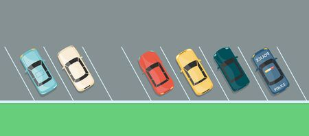Top view of colorful car row on a parking lot, grey asphalt vehicle park with one last free spot left in diagonal angle slots, flat cartoon banner of city transport space - vector illustration Illustration