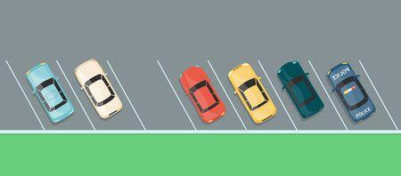Vista superior de la fila de autos coloridos en un estacionamiento, estacionamiento de vehículos de asfalto gris con un último lugar libre en las ranuras de ángulo diagonal, pancarta de dibujos animados plana del espacio de transporte de la ciudad - ilustración vectorial