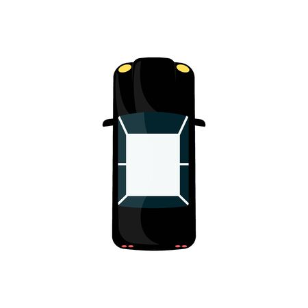 Black coupe car in top view isolated on white background, cartoon flat automobile in dark color with light roof. City sedan drawing seen from above - vector illustration