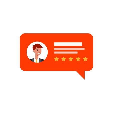 Customer feedback or rating comment in chat speeches bubble with five stars the flat vector illustration isolated on white background. Business service and quality's review.