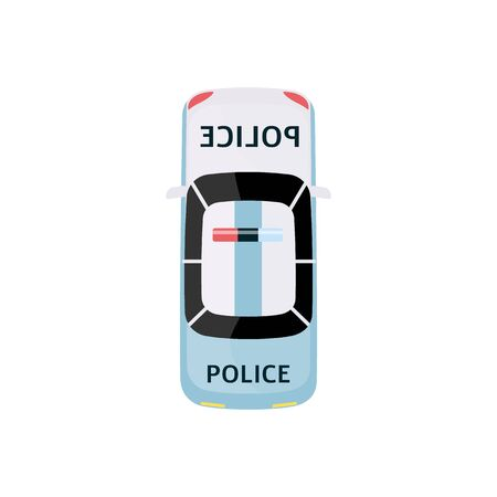 White and light blue police car - top view of law enforcement vehicle with siren on the roof, retro transportation icon isolated on white background, flat cartoon vector illustration
