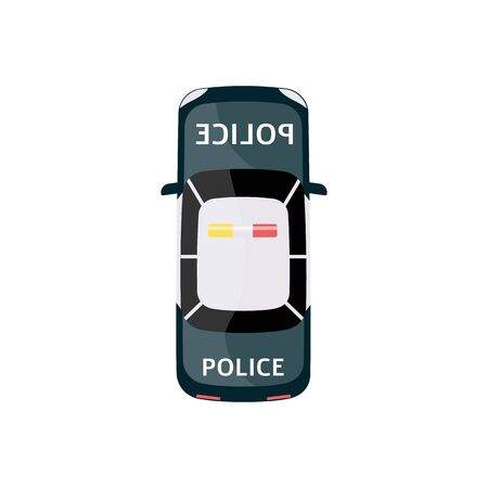 Police car from top view. Isolated cartoon drawing of law enforcement vehicle with siren on rooftop and text emblem on front and back - flat vector illustration of auto transportation icon