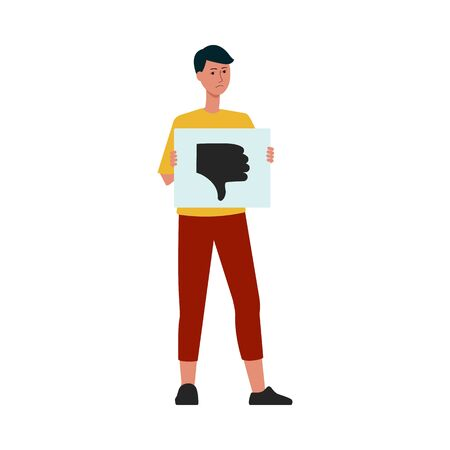 Bad customer experience concept the caucasian man with finger down banner, cartoon flat illustration isolated on white background. Negative feedback review or low rating. Çizim