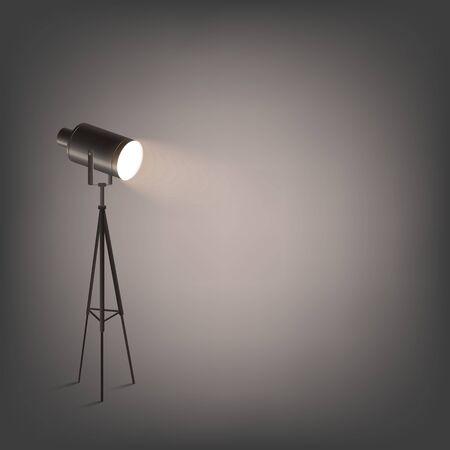 Photo and film studio spotlight on tripod illuminating dark background 3d realistic vector illustration. Light of professional cinema and show projector or lamp. Illustration