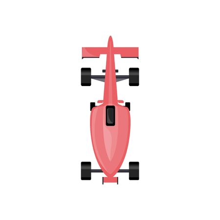 Pink race car from top view, cartoon model of sport vehicle for speed rally competition seen from above, isolated auto toy vector illustration on white background Ilustração