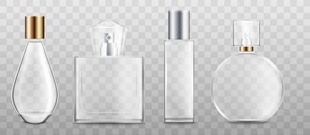 Perfume bottles or fragrance containers of various shapes 3d realistic vector illustration mockup isolated on transparent background. Perfumery and cosmetics packaging.
