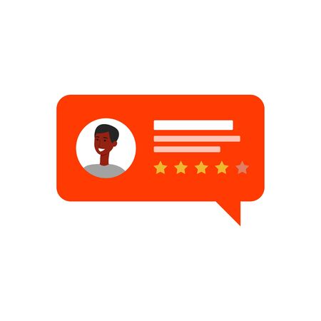 Positive customer review speech bubble. African man avatar with four star feedback for service or product, quality evaluation icon isolated on white background - flat cartoon vector illustration Иллюстрация
