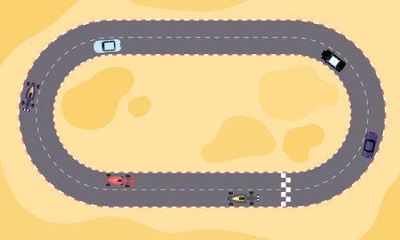 Compétition de vitesse de voiture de course sur piste de dessin animé en vue de dessus. Terrain de sable avec route de rallye en boucle ovale avec ligne de départ et d'arrivée, illustration vectorielle à plat