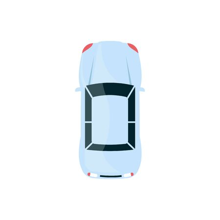 Light blue sedan car - top view of modern automobile with rounded hood isolated on white background, flat cartoon auto vehicle icon - vector illustration